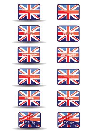 bandera inglesa: Un conjunto de doce botones de la tela con los botones tema del Jubileo con texto y un efecto de estilo grunge que se distribuyen en la toma de bandera de la Unión un conjunto adicional sin un efecto de sombra a la base para la web o el uso de impresión Editorial