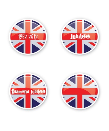 A set of four round or circular jubilee themed navigation buttons  Set with text over the union jack flag  Ideal for web use or other  Stock Photo - 12716421