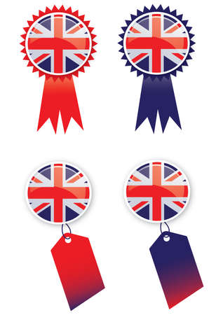 queens jubilee: A set of four tags with a rosette and tag theme with glass effect buttons using the union jack flag  Ideal for web or print use  Stock Photo