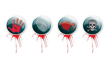 A set of four round glass effect buttons with a crime theme  Themed illustrations to each button with blood splatter  For web or print use  Stock Illustration - 12714093