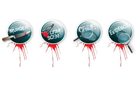 A set of four round glass effect buttons with a crime theme  Themed illustrations to each button with grunge effect type and blood splatter  For web or print use  illustration