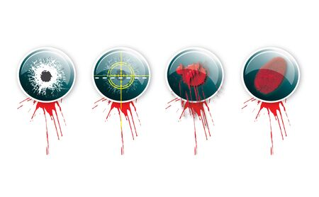 bullethole: A set of four round glass effect buttons with a crime theme  Themed illustrations to each button with grunge effect type and blood splatter  For web or print use  Stock Photo