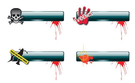 A set of four horizontal glass effect buttons with a crime theme  Themed illustrations set to each bar with blood splatter  Space for text  For web or print use Stock Illustration - 12714092