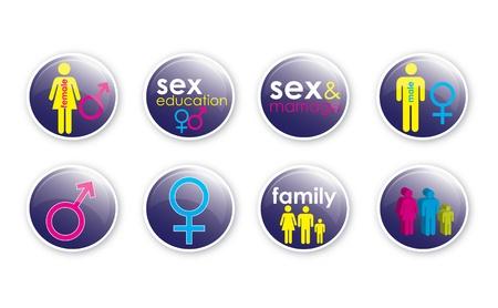 Un conjunto de ocho botones de cristal de efecto con un tema de sexo, amor y educación, utilizando el texto y las ilustraciones