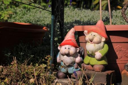 gnomos: Dos gnomos de jardín en un jardín de la ciudad situado junto a un banco del jardín y delante de un plástico de color maceta de terracota. Establecer en un formato de paisaje. Foto de archivo
