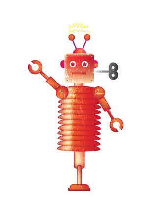 representational: A single robot set on a white isolated background on a portrait format image with a grunge style effect applied