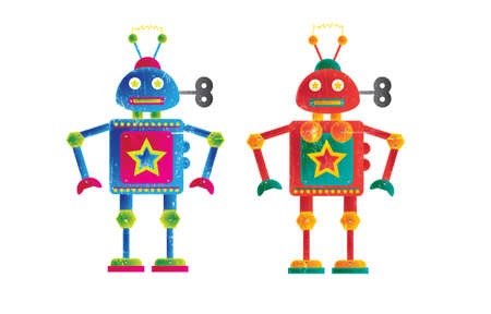 representational: Two colourful robots, one female orintated , the other male  Set on a white isolated background on a landscape format image with a grunge style effect applied  Stock Photo