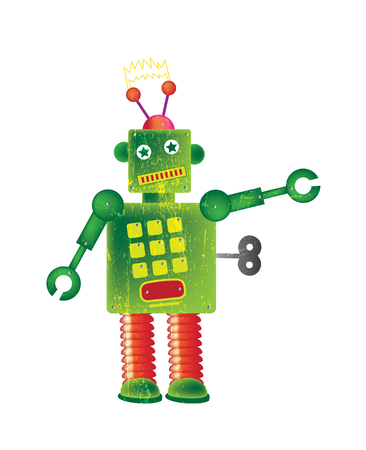 representational: A single square shaped robot set on a white isolated background on a portrait format image with a grunge style effect applied  Stock Photo