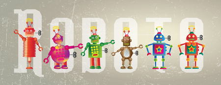 representational: Six colorful robots set on a grunge style background set against the word Robot
