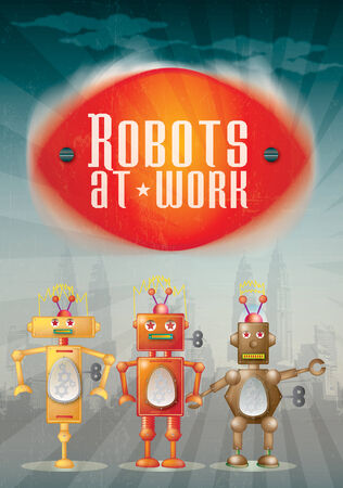 representational: Three hand drawn illustrative robots set against a city scape background on a portrait format with text set above spelling Robots at Work.