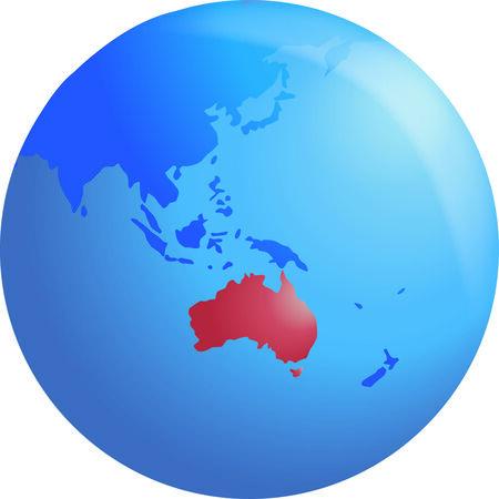 terra: Vector globe highlighting Australia