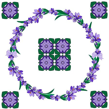 Round frame with pretty flowers crocus and decorative elements for your season design. Violet flowers. Vector illustration.