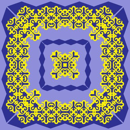Decorative design with ethnic element for decoration and your design. Kyrgyz; Kazakh; Uzbek ornaments; symmetry texture. Print for shawl and carpet; tile. Square design element. Vector. Çizim