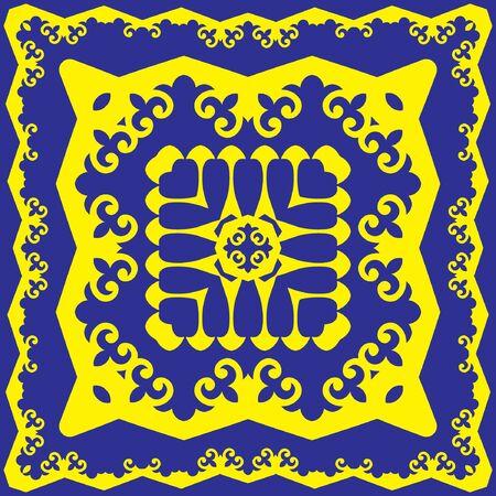 Decorative design with ethnic element for decoration and your design. Kyrgyz; Kazakh; Uzbek ornaments; symmetry texture. Print for shawl and carpet; tile. Square desinge element. Vector.