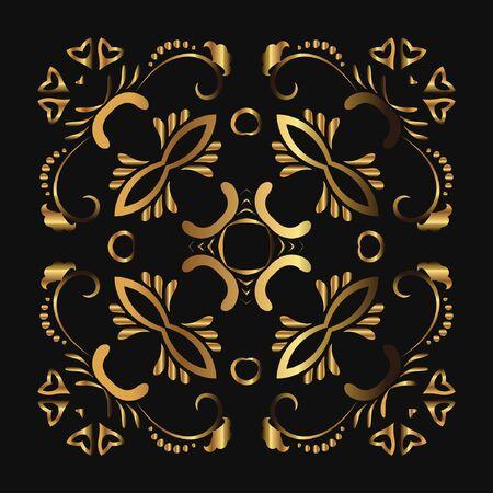 Gold monogram on a black background. Vector floral symbol for cafe, restaurant, shop, print, stamp, elegant wedding invitation card; invitation.