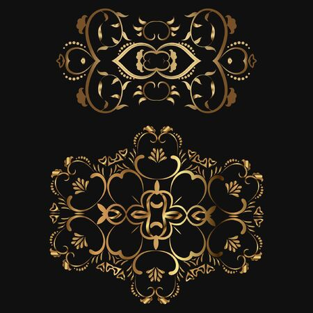 Set of 2 Luxury. Vector template for book covers, business cards, corporate identity creation. Illustration of a gold tracery element on a black background. Foil stamping.