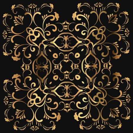Luxury logo. Vector template for book covers, business cards, corporate identity creation. Illustration of a gold tracery element on a black background. Foil stamping Ilustração