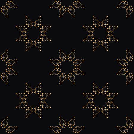 Seamless pattern with gold elements on a black background. Vector floral symbol for cafe, restaurant, shop, print, stamp, elegant wedding invitation card, invitation. Banco de Imagens - 148626345