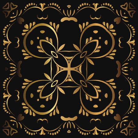Abstract luxury gold pattern, ornament with monograms, ornate elements. Elegant wedding invitation card; invitation; workpiece for your design. Ilustração
