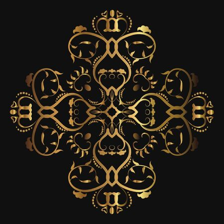 Abstract luxury gold pattern, ornament with monograms, ornate elements. Elegant wedding invitation card; invitation; workpiece for your design. Banco de Imagens - 148626349
