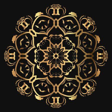 Luxury ornamental mandala design gold color on black background. Logo design template label for coffee, tea, business card. Isolated ornament. Vector illustration.