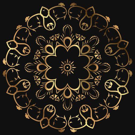 Luxury ornamental mandala design gold color on black background. design template label for coffee; tea; business card. Isolated ornament. Vector illustration. Ilustração