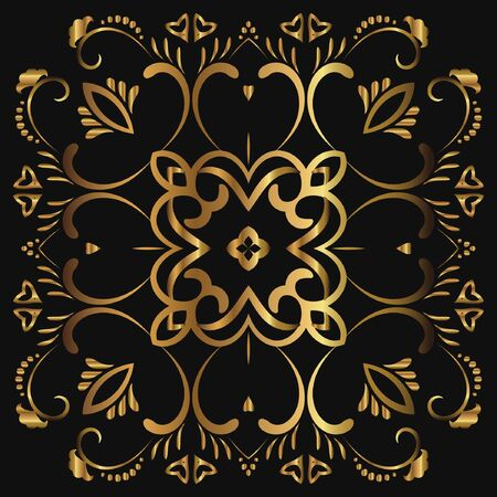 Abstract luxury gold pattern, ornament with monograms, ornate elements. Elegant wedding invitation card; invitation; workpiece for your design. Banco de Imagens - 148626355