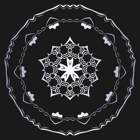 Silver Vector floral symbol on black background Ilustração