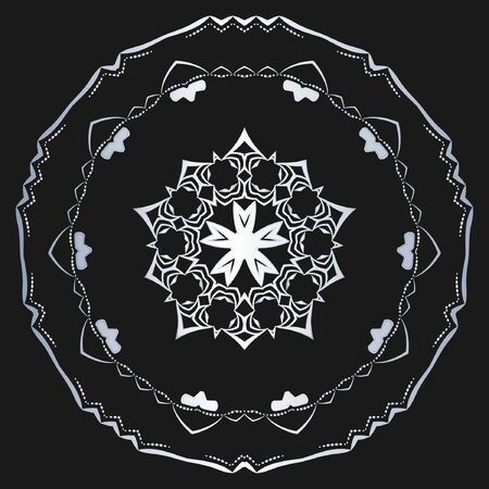 Silver Vector floral symbol on black background