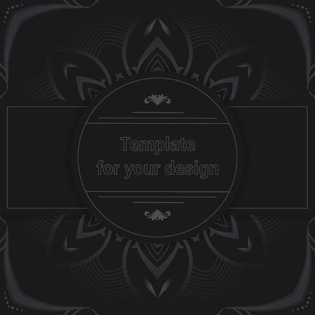 Luxury design on black background. Template for your design with ornamental elements for packing, banner, flyer and print design. Workpiece for your design.