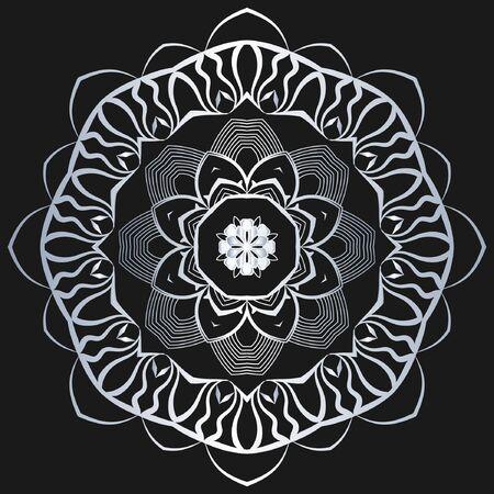 Luxury ornamental mandala design silver color on black background. design template label for coffee; tea; business card. Isolated ornament. Vector illustration. Ilustração