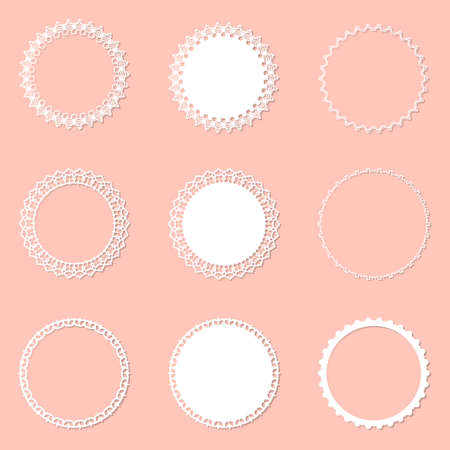 Set of 9 round frame with swirls, vector ornament, vintage frame. White frame with lace for paper or wood cutting. Doily ornament. Round decor pattern.