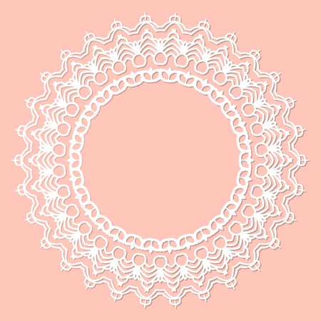 Abstract round frame with swirls, vector ornament, vintage frame. White frame with lace for paper or wood cutting. Doily ornament. Round decor pattern.
