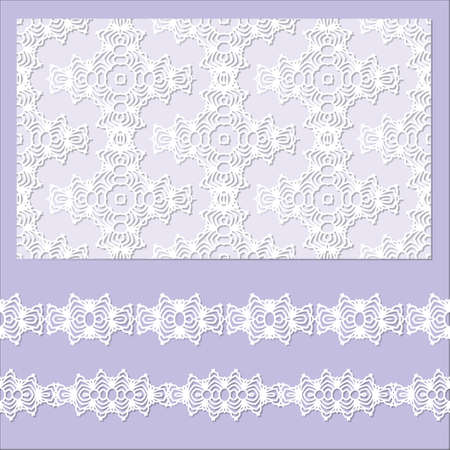 Set of 2 borders and 1 seamless pattern with Doily ornament, embossed pattern. Vector ornament.