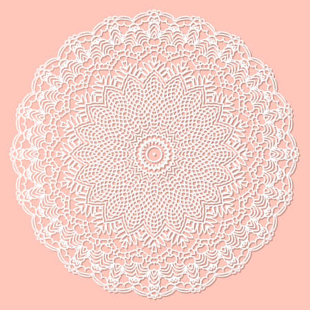Mandala, lace paper doily, embossed pattern, 3D, round element. Paper cut out design, laser cut template. Vintage lace doily with border. Floral round napkin for your design. Stock fotó - 155408823