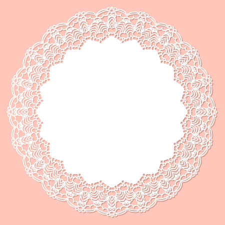 Greeting card with openwork round border, paper under the cake, wedding invitation. White frame with lace for paper or wood cutting. Doily ornament. Round decor pattern.