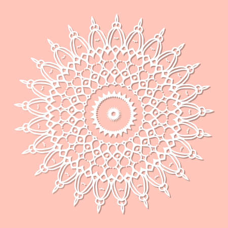 Mandala, lace paper doily, embossed pattern, 3D, round element. Paper cut out design, laser cut template. Vintage lace doily with border. Floral round napkin for your design. Stock fotó - 155287663