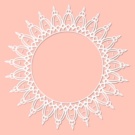 Abstract round frame with swirls, vector ornament, vintage frame. White frame with lace for paper or wood cutting. Doily ornament. Round decor pattern. Stock fotó - 155287673