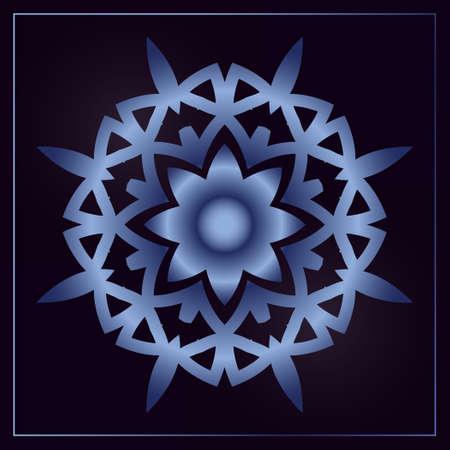 Blue monogram on a black background. Vector floral symbol for cafe, restaurant, shop, print, stamp, elegant wedding invitation card; invitation.