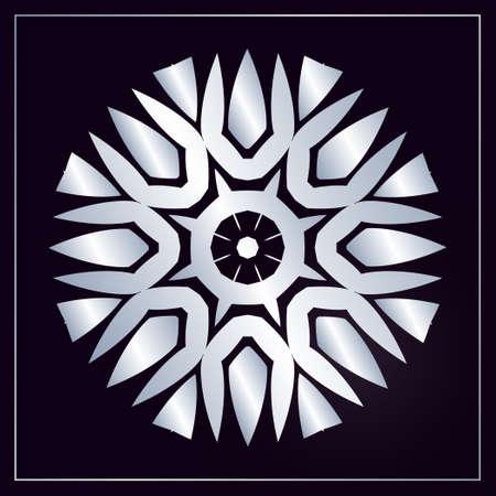 Silver monogram on a black background. Vector floral symbol for cafe, restaurant, shop, print, stamp, elegant wedding invitation card; invitation.
