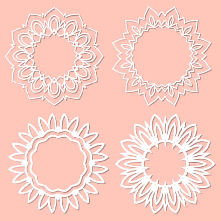 Set of 4 round frame with swirls, vector ornament, vintage frame. White frame with lace for paper or wood cutting. Doily ornament. Round decor pattern.