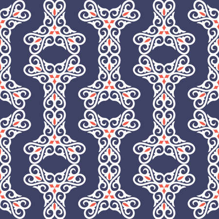 Decorative seamless pattern with ethnic element. Kyrgyz and Kazakh ornaments. Texture for background, wallpaper, pattern fills, fabrics, gift wrapping, textile. Design Paper For Scrapbook. Vector.