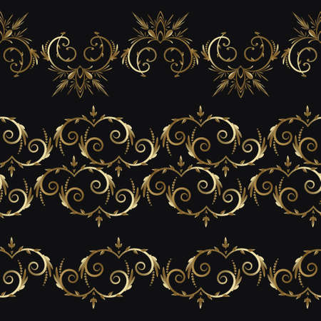 Set of 3 luxury lace ornaments borders gold color on black background. Gold Border. Design template for wallpaper. Isolated ornament. Vector Illustration. Illusztráció