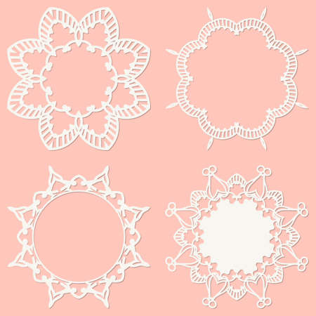 Set of 4 round frame with swirls, vintage frame. White frame with lace for paper or wood cutting. Doily ornament. Round decor pattern. Ornamental Frame with Curly Border decoration. Vector. Illusztráció
