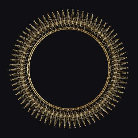 Luxury frame of gold color on a black background. Ornamental frame for cafe, restaurant, shop, print, stamp, elegant card. wedding invitations; Isolated element. Vector