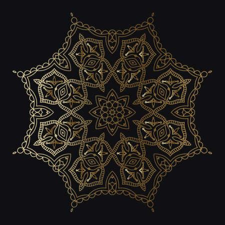 Decorative Round Pattern of gold color on a black background. Ornamental pattern for cafe, restaurant, shop, print, stamp, elegant card. wedding invitations; Isolated element. Vector Illusztráció