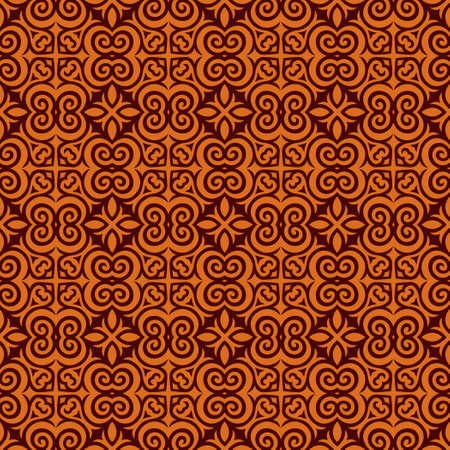 Decorative Asian Folk Seamless Pattern. Repeating background. Monochrome surface design textile swatch, minimal all over print for wallpapers, fabrics, gift wrapping, templates. Vector.