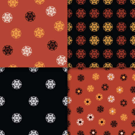 Set of 4 Decorative Seamless Pattern for Home Textile. Abstract Texture Designs can be used for Backgrounds, Motifs, Textile, Wallpapers, Fabrics, Templates. Design Paper For Scrapbook. Vector. Illusztráció