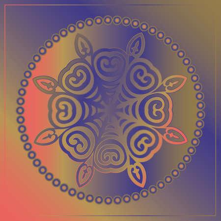 Decorative Asian Round Pattern. Mandala. Ornamental design element of Asian Nomads: Kyrgyz, Kazakhs, Bashkirs, Tatars, Yakut, Mongols. Ethnic Vector Illustration for Paper Products, Textiles.