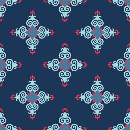 Decorative Asian Folk Seamless Pattern. Ornament of Asian Nomads: Kyrgyz, Kazakhs, Bashkirs, Tatars, Yakut, Mongols. Ethnic Vector Illustration for Paper Products, Textiles. Stock fotó - 157589284
